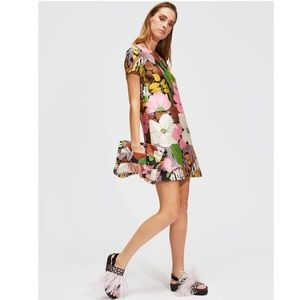 La DoubleJ Mini Swing Dress Big Flower Silk Twill